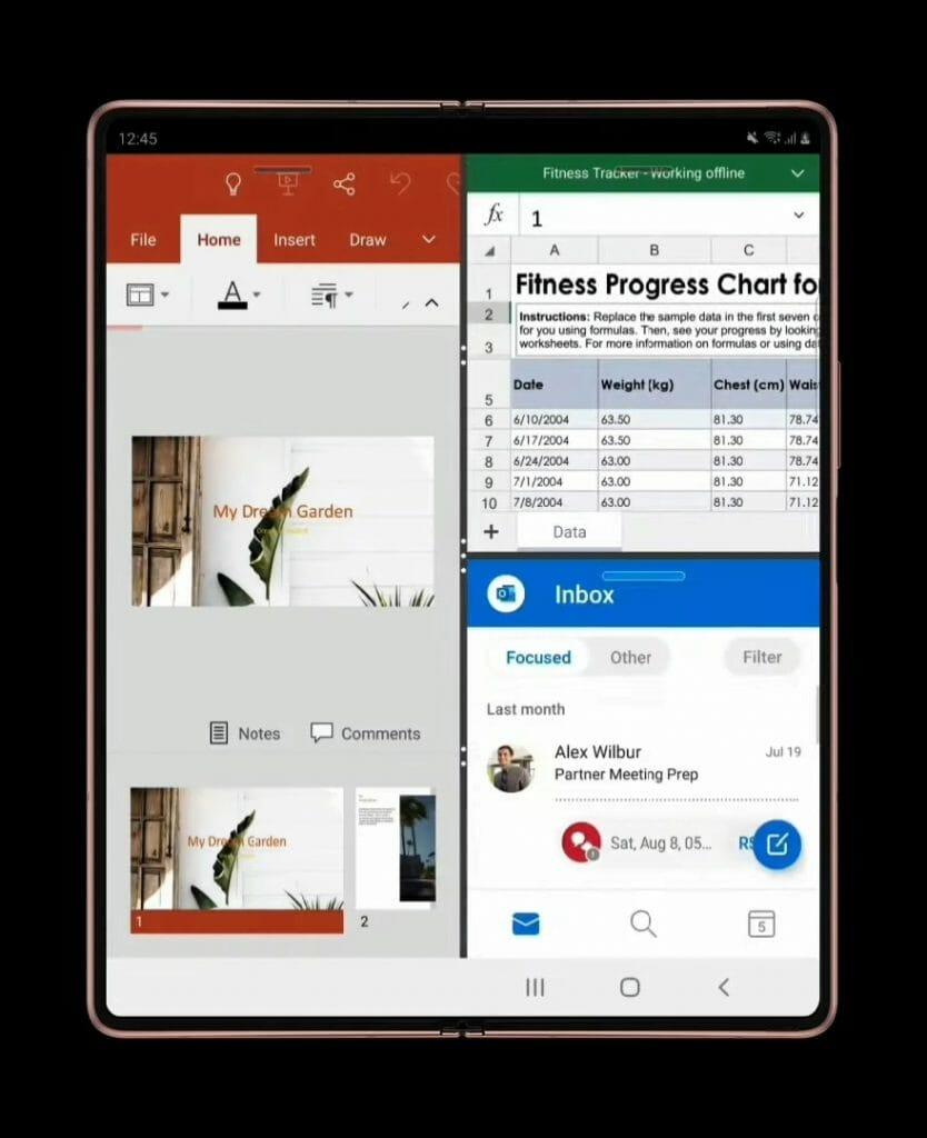 Galaxy Z Fold 2 - 3 приложения едновременно